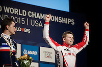 Junior World Champion Felix Gall (AUT) on the podium<br /> <br /> Men Junior Road Race<br /> UCI Road World Championships Richmond 2015 / USA