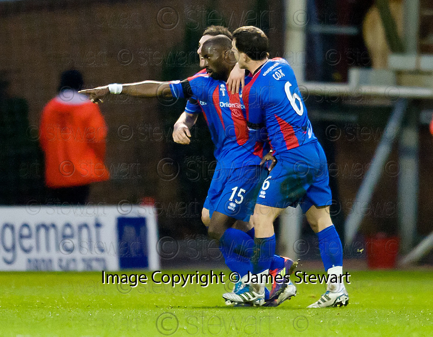 CALEY'S GREGORY TADE CELEBRATES AFTER HE SCORES INVERNESS' GOAL..14/01/2012 sct_jsp005_motherwell_v_ict     .Copyright  Pic : James Stewart.James Stewart Photography 19 Carronlea Drive, Falkirk. FK2 8DN      Vat Reg No. 607 6932 25.Telephone      : +44 (0)1324 570291 .Mobile              : +44 (0)7721 416997.E-mail  :  jim@jspa.co.uk.If you require further information then contact Jim Stewart on any of the numbers above.........