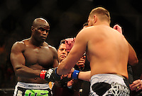 Oct. 29, 2011; Las Vegas, NV, USA; UFC fighter Cheick Kongo (left) against Matt Mitrione during a heavyweight bout at UFC 137 at the Mandalay Bay event center. Mandatory Credit: Mark J. Rebilas-
