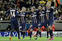 Paris Saint-Germain's Blaise Matuidi, Marco Verratti, Maxwell, Zlatan Ibrahimovic and Javier Pastore celebrate goal during Champions League 2012/2013 match.February 12,2013. (ALTERPHOTOS/Acero) /NortePhoto