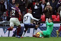 Martin Dubravka of Newcastle United saves from Lucas of Tottenham Hotspur during Tottenham Hotspur vs Newcastle United, Premier League Football at Wembley Stadium on 2nd February 2019