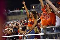 Blacksburg, VA - OCT 6, 2018: Virginia Tech Hokies fan cheers on her team during game between Notre Dame and Virginia Tech at Lane Stadium/Worsham Field Blacksburg, VA. (Photo by Phil Peters/Media Images International)