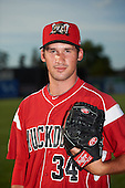 Batavia Muckdogs relief pitcher Chad Smith (34) poses for a photo before a game against the Brooklyn Cyclones on July 6, 2016 at Dwyer Stadium in Batavia, New York.  Batavia defeated Brooklyn 15-2.  (Mike Janes/Four Seam Images)