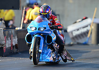 Oct. 5, 2012; Mohnton, PA, USA: NHRA pro stock motorcycle rider Chip Ellis during qualifying for the Auto Plus Nationals at Maple Grove Raceway. Mandatory Credit: Mark J. Rebilas-