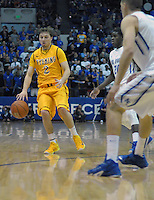 February 7, 2015 - Colorado Springs, Colorado, U.S. -  Wyoming guard, Riley Grabau #2, at the top of key during an NCAA basketball game between the University of Wyoming Cowboys and the Air Force Academy Falcons at Clune Arena, U.S. Air Force Academy, Colorado Springs, Colorado.  Air Force soars to a 73-50 win over Wyoming.