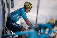 Nairo Quintana (COL/Movistar) warming up before the grueling stage ahead<br /> <br /> Stage 11: Albertville &gt; La Rosi&egrave;re / Espace San Bernardo (108km)<br /> <br /> 105th Tour de France 2018<br /> &copy;kramon