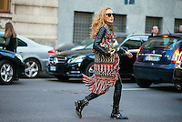 Elina Halimi at Milan Fashion Week (Photo by Hunter Abrams/Guest of a Guest)