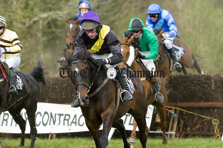 Clare jockey Derek O'Connor storms ahead on Be My Allstar for his second win in the third race at the Dromoland Point to point.Pic Arthur Ellis.