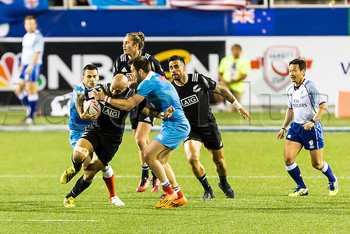 04.03.2016. Las Vegas, Nevada, USA.  D J Forbes (#4) of New Zealand on erious offense during the 2nd half the Pool A match between New Zealand and Russia at the USA Sevens held March 4-6, 2016 at Sam Boyd Stadium in Las Vegas NV. Final score NZ 38, Russia 0.