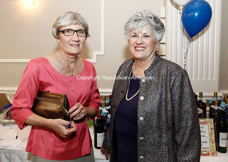 Waterbury, CT- 01 May 2014-050114CM14- SOCIAL MOMENTS---  Left to right, Kathy Upson of Waterbury and Debbie Cronin, chairwoman of the Saint Mary School board,  during the Saint Mary School 125th Anniversary Gala at La Bella Vista at the Pontelandolfo Community Club in Waterbury on Thursday.   Christopher Massa Republican-American