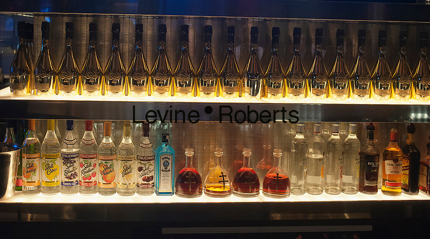 A selection of top shelf liquor is seen in a bar in a club in New York on Saturday, October 6, 2012. (© Richard B. Levine)