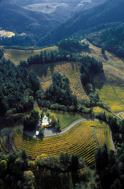 Aerial of winery on Spring Mountain near St. Helena