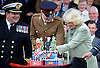 CAMILLA, DUCHESS OF CORNWALL<br /> cuts a cake during a parade at the Defence Medical Services (Whittington).<br /> During the visit Camilla formally dedicated the Defence Medical Services (Whittington), the new home of the Defence Medical Training at a Families Day attended by personnel, their families, and representatives from the local community_08/05/2014<br /> Mandatory Credit Photo: &copy;MOD-Crown Copyright/NEWSPIX INTERNATIONAL<br /> <br /> **ALL FEES PAYABLE TO: &quot;NEWSPIX INTERNATIONAL&quot;**<br /> <br /> IMMEDIATE CONFIRMATION OF USAGE REQUIRED:<br /> Newspix International, 31 Chinnery Hill, Bishop's Stortford, ENGLAND CM23 3PS<br /> Tel:+441279 324672  ; Fax: +441279656877<br /> Mobile:  07775681153<br /> e-mail: info@newspixinternational.co.uk