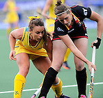 The Hague, Netherlands, June 05: Georgie Parker #19 of Australia vies for the ball during the field hockey group match (Women - Group A) between Belgium and Australia on June 5, 2014 during the World Cup 2014 at Kyocera Stadium in The Hague, Netherlands. Final score 2:3 (1:1) (Photo by Dirk Markgraf / www.265-images.com) *** Local caption ***