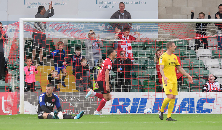 Lincoln City's Tyler Walker celebrates scoring his side's second goal<br /> <br /> Photographer Chris Vaughan/CameraSport<br /> <br /> The EFL Sky Bet League One - Lincoln City v Fleetwood Town - Saturday 31st August 2019 - Sincil Bank - Lincoln<br /> <br /> World Copyright © 2019 CameraSport. All rights reserved. 43 Linden Ave. Countesthorpe. Leicester. England. LE8 5PG - Tel: +44 (0) 116 277 4147 - admin@camerasport.com - www.camerasport.com