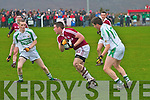 Michael O'Shea in possession as he moves forward for another Dromid attack in the Junior Club Championship Semi-Final in Waterville on Sunday.