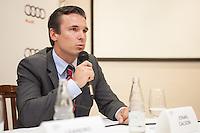 SAO PAULO, SP, 06 DE MARCO 2013 - AUDI E LUCAS DI GRASSI - O presidente da Audi no Brasil Leandro Radomile apresenta o novo piloto Lucas Di Grassi, no Restaurante Vento Haragano, na Avenida Rebouças, na regiao oeste, da capital, nesta quarta-feira (06). O brasileiro formará a equipe que correra a prova 12 Horas de Sebring que acontecera no dia 16 de marco. (FOTO: POLINE LYS / BRAZIL PHOTO PRESS).