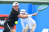 11th January 2018,  Kooyong Lawn Tennis Club, Kooyong, Melbourne, Australia; Priceline Pharmacy Kooyong Classic tennis tournament; Lucas Pouille of France returns the ball to Andrey Rublev of Russia