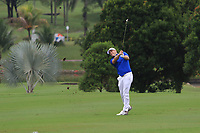 Alex Noren (Europe) on the 18th fairway during the Friday Foursomes of the Eurasia Cup at Glenmarie Golf and Country Club on the 12th January 2018.<br /> Picture:  Thos Caffrey / www.golffile.ie