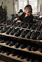01/05/16<br /> <br /> Helen Lewis inspects a cycling shoe.<br /> <br /> Fuelled by a growing trend for vintage cycling, England&rsquo;s last remaining heavy duty boot-maker, tucked away in the heart of the Derbyshire Peak District, is pedalling a new style of footwear.<br /> <br /> Full story here: http://www.fstoppress.com/articles/vintage-cycle-shoes/<br /> <br />  .For hipster retro-cycling enthusiasts after the authentic vintage look, it&rsquo;s the only English manufacturer of leather shoes designed to work with old-fashioned bike pedal clips.<br /> <br /> For well over a century the family-run firm William Lennon and Co has been hand-making safety boots for the surrounding quarry and lead mining industries.<br /> <br /> And now it is applying the same high level of traditional skill and quality to old-style cycle shoes.<br /> <br /> Located in the small village of Stoney Middleton, the company produces more than 500 pairs of work boots a week and started to make the toe-clip cycle shoes around seven years ago, when the only other manufacturer in Leeds shut down.<br /> <br /> <br /> All Rights Reserved: F Stop Press Ltd. +44(0)1335 418365   www.fstoppress.com.