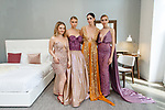 Fashion designer Larglinda Ilazi poses with models during the New York School of Design Spring Summer 2018 fashion show presentation at Calligaris on 55 Thompson Street on September 7, 2017 during New York Fashion Week.
