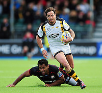 Danny Cipriani of Wasps gets past Billy Vunipola of Saracens. Aviva Premiership match, between Saracens and Wasps on October 9, 2016 at Allianz Park in London, England. Photo by: Patrick Khachfe / JMP