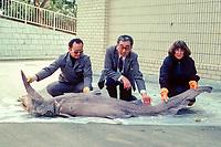 Dr. Eugenie Clark ( right ) with goblin shark specimen, Mitsukurina owstoni, Japan