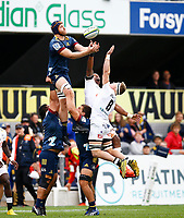 Josh Dickson of the Pulse Energy Highlanders out jumps James Venter of the Cell C Sharks during the Super Rugby match between the Pulse Energy Highlanders and the Cell C Sharks at the Forsyth Barr Stadium in Dunedin, New Zealand on Friday, 7 February 2020. Photo Steve Haag / stevehaagsports.com