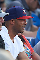 Former New York Yankees closer Mariano Rivera (44) watches his son pitch a game for the Auburn Doubledays against the State College Spikes on July 6, 2015 at Falcon Park in Auburn, New York.  State College defeated Auburn 9-7.  (Mike Janes/Four Seam Images)