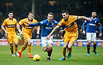 Barrie McKay gets between Stevie Hammell and Stephen McManus