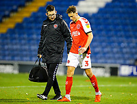 Fleetwood Town's Eddie Clarke leaves the field injured int he first half <br /> <br /> Photographer Alex Dodd/CameraSport<br /> <br /> The EFL Checkatrade Trophy Group B - Bury v Fleetwood Town - Tuesday 13th November 2018 - Gigg Lane - Bury<br />  <br /> World Copyright &copy; 2018 CameraSport. All rights reserved. 43 Linden Ave. Countesthorpe. Leicester. England. LE8 5PG - Tel: +44 (0) 116 277 4147 - admin@camerasport.com - www.camerasport.com