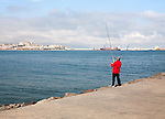 Man sea fishing Melilla autonomous city state Spanish territory in north Africa, Spain