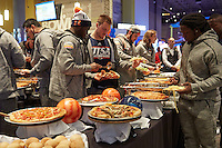 ALBUQUERQUE, NM -DECEMBER 14, 2016: The University of Texas at San Antonio Roadrunner Football Team enjoys food and games at The Main Event and visits the Gildan New Mexico Bowl Gift Suite. (Photo by Jeff Huehn)