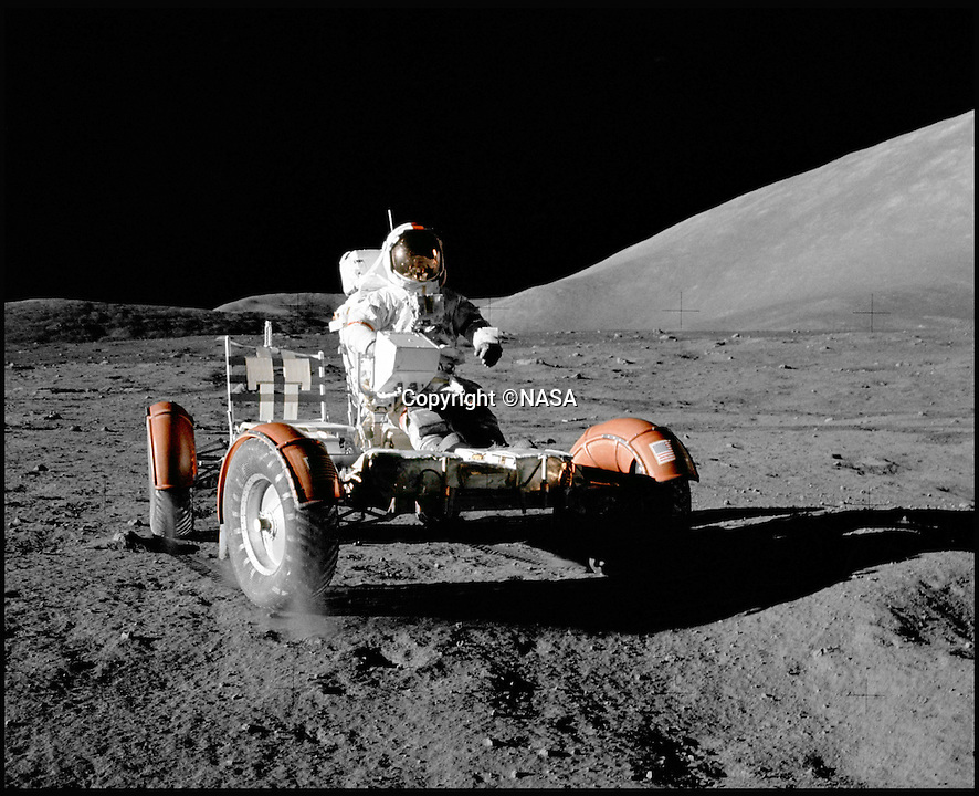 BNPS.co.uk (01202 558833)<br /> Pic: NASA/BNPS<br /> <br /> In action with Apollo 15 - The final Lunar Rover on the moon.<br /> <br /> One small step for a bidder, one giant leap for his mechanic...<br /> <br /> In the 60's it would have been a top secret part of NASA's $25 billion Apollo space program - but today this prototype Lunar Rover has been discovered languishing in a scrap yard in deepest Alabama. <br /> <br /> The vehicle was part of the development program for the Lunar Rover that eventually reached the moon on Apollo 15 in 1972,<br /> <br /> But despite becomindg a rusty footnote to space history the spartan vehicle still retains an astronomical £110,000 auction estimate.<br /> <br /> RR Auctions - 21st April - £110,000 est