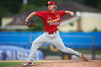 Palm Beach Cardinals pitcher Lee Stoppelman (46) delivers a pitch during the first game of a doubleheader against the Dunedin Blue Jays on July 31, 2015 at Florida Auto Exchange Stadium in Dunedin, Florida.  Dunedin defeated Palm Beach 7-0.  (Mike Janes/Four Seam Images)