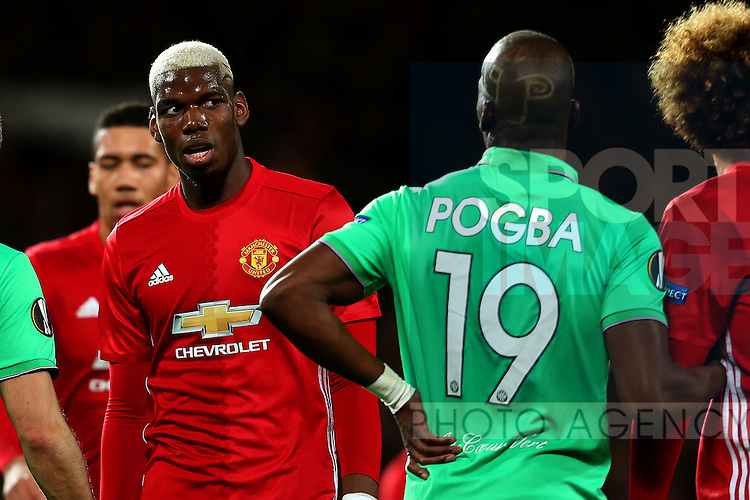 Florentin Pogba of Saint Etienne marks his brother Paul Pogba of Manchester United on a corner during the UEFA Europa League Round of 32 1st leg match at Old Trafford Stadium, Manchester. Picture date: February 16th, 2017. Pic credit should read: Matt McNulty/Sportimage