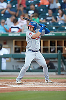 Reese McGuire (7) of the Buffalo Bisons at bat against the Charlotte Knights at BB&T BallPark on July 24, 2019 in Charlotte, North Carolina. The Bisons defeated the Knights 8-4. (Brian Westerholt/Four Seam Images)
