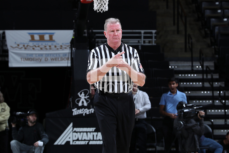 WINSTON-SALEM, NC - FEBRUARY 06: Official Mark Hardcastle during a game between Notre Dame and Wake Forest at Lawrence Joel Veterans Memorial Coliseum on February 06, 2020 in Winston-Salem, North Carolina.