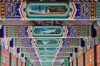 Colorfully painted corridor details, Zhongshan Park, Beijing, China