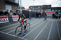 European and Belgian Champion Sanne Cant (BEL/Enertherm-BKCP) first on the start grid<br /> <br /> Jaarmarktcross Niel 2015  Elite Women's Race