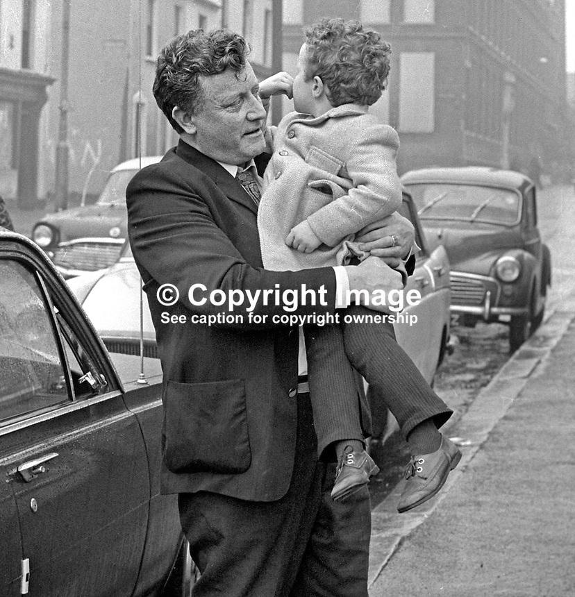 Republican Labour Party Councillor Jim O'Kane reunited with his 3 year old son Damian on his release from internment at Long Kesh. He was among 70 internees and detainees released on the order of N Ireland Secretary of State William Whitelaw. 7th April 1972. 197204070166<br />