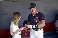 Boston Red Sox Wade Boggs sign an autograph during spring training circa 1990 at Chain of Lakes Park in Winter Haven, Florida.  (MJA/Four Seam Images)