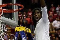 BERKELEY, CA - MARCH 30: Assistant coach Bobbie Kelsey cuts down the net following Stanford's 74-53 win against the Iowa State Cyclones on March 30, 2009 at Haas Pavilion in Berkeley, California.