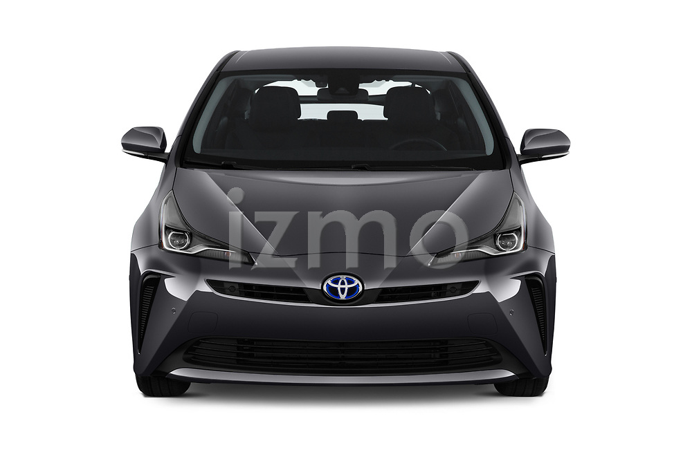Car photography straight front view of a 2019 Toyota Prius XLE 5 Door Hatchback
