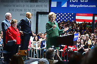 Baltimore, MD - April 10, 2016: Former Secretary of State and 2016 Democratic presidential candidate Hilary Clinton speaks during a campaign event at the City Garage in Baltimore, MD, April 10, 2016, as Se. Ben Cardin, Sen. Barbara Mikulski and Rep. Elijah Cummings look on.  (Photo by Don Baxter/Media Images International)