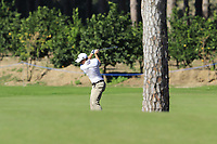 Paul Dunne (IRL) plays his 2nd shot on the 3rd hole during Friday's Round 2 of the 2018 Turkish Airlines Open hosted by Regnum Carya Golf &amp; Spa Resort, Antalya, Turkey. 2nd November 2018.<br /> Picture: Eoin Clarke | Golffile<br /> <br /> <br /> All photos usage must carry mandatory copyright credit (&copy; Golffile | Eoin Clarke)
