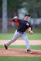 Miami Marlins Ryan Newell during a minor league Spring Training intrasquad game on March 31, 2016 at Roger Dean Sports Complex in Jupiter, Florida.  (Mike Janes/Four Seam Images)