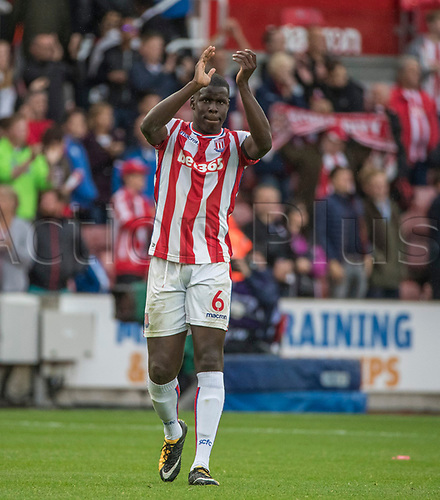 19th August 2017, bet365 Stadium, Stoke-on-Trent, England; EPL Premier League football, Stoke City versus Arsenal; Kurt Zouma of Stoke City