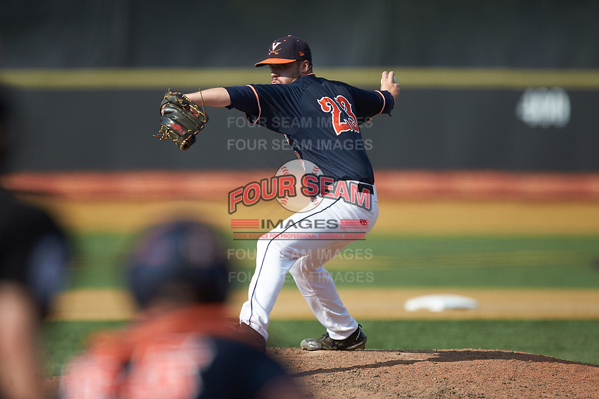 Virginia Cavaliers relief pitcher Grant Donahue (23) in action against the Wake Forest Demon Deacons at David F. Couch Ballpark on May 19, 2018 in  Winston-Salem, North Carolina. The Demon Deacons defeated the Cavaliers 18-12. (Brian Westerholt/Four Seam Images)