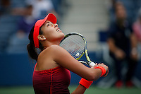 Ana Ivanovic of Serbian reacts after losing a point against Dominika Cibulkova of Slovak during their match at the Arthur Ashe stadium during the US Open 2015 Tennis Tournament in New York. 08.31.2015.  Eduardo MunozAlvarez/VIEWpress.